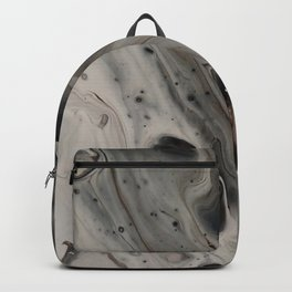 Black and White Abstract Painting - Fluid Pour - Silver Metallic Backpack
