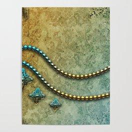 Vintage, blue diamond Poster