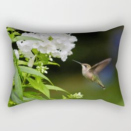 Hummingbird and Flowers Rectangular Pillow