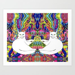 Psychedelic White Cat Art Print