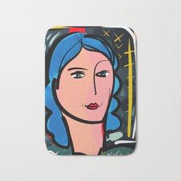 Fauve Girl Portrait with blue hair Bath Mat