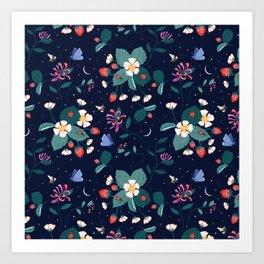 Midnight Strawberry Patch Pattern Art Print