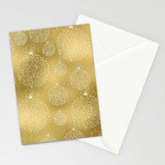 Merry christmas- christmas balls on gold pattern Stationery Cards