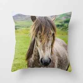 Beautiful, grey Icelandic horse portrait at meadow. Throw Pillow