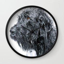 Black Labradoodle Wall Clock