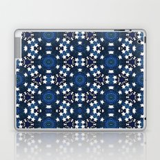 Blue Doodle White Stars Mandala Pattern Laptop & iPad Skin