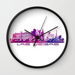 Las Vegas skyline purple Wall Clock