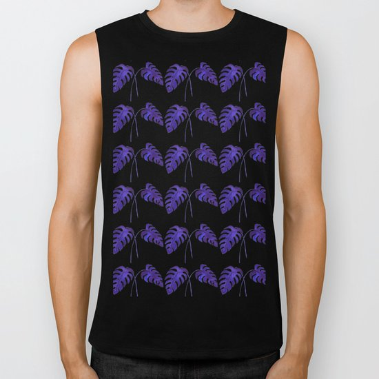 Indigo Monstera Leaf Watercolor on Black Biker Tank