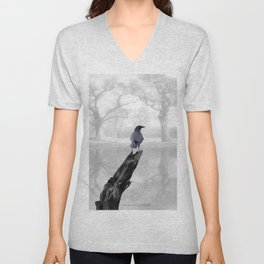 Crow On Misty Pond A114 Unisex V-Neck