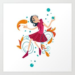 Hippe Girl Art Print
