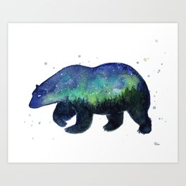 Polar Bear Silhouette with Northern Lights Galaxy Art Print