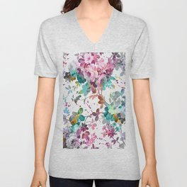 Abstract pink teal watercolor splatters floral pattern Unisex V-Neck