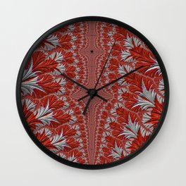 Red and White Abstract Fractal Wall Clock