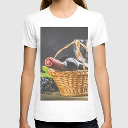 Wine composition on dark rustic background T-shirt
