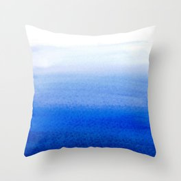 Dip dye background in ultramarine blue Throw Pillow