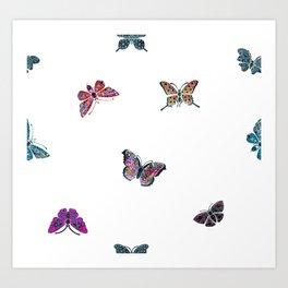 Butterfly Vintage jewels, Butterfly pattern, gemstones Art Print