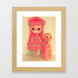 Rose and her poodle Framed Art Print