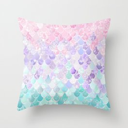 Cute Mermaid Pattern, Light Pink, Purple, Teal Throw Pillow