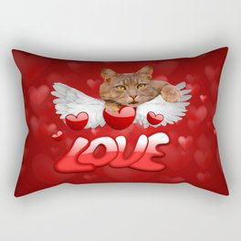 Cat Love and Hearts Rectangular Pillow