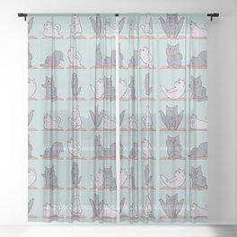 British Shorthair Cat  Yoga Sheer Curtain