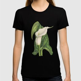Vintage Flower Calla Lily with Green Leaves Closeup T-shirt