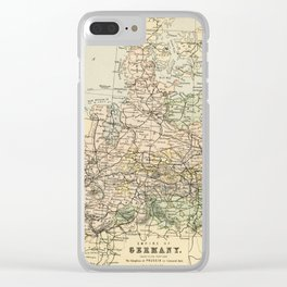 Old and Vintage Map of Germany Outline Clear iPhone Case