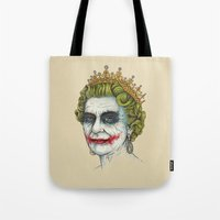 queen Tote Bags featuring God Save the Villain! by Enkel Dika
