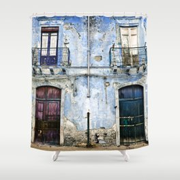 BLUE FACADE of SICILY Shower Curtain