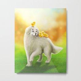 Dog and chicks Metal Print