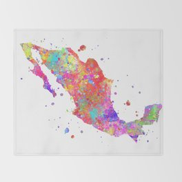 Mexico Map Throw Blanket