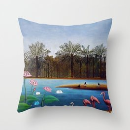 The Flamingos by Henry Rousseau Throw Pillow