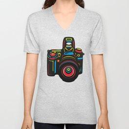 Black Camera Unisex V-Neck