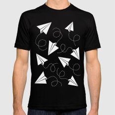 Paper Plane Mens Fitted Tee MEDIUM Black