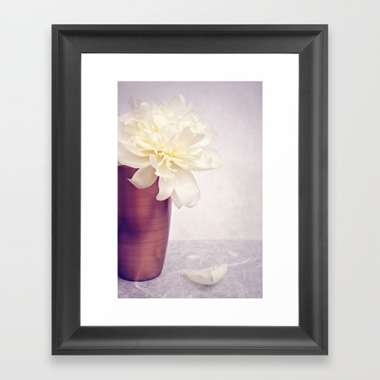 PEONY LOVE - Still life with vase and white peony Framed Art Print