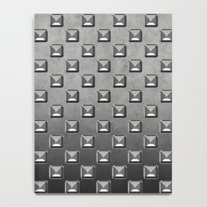 Silver Shine square embellishment on grey Notebook