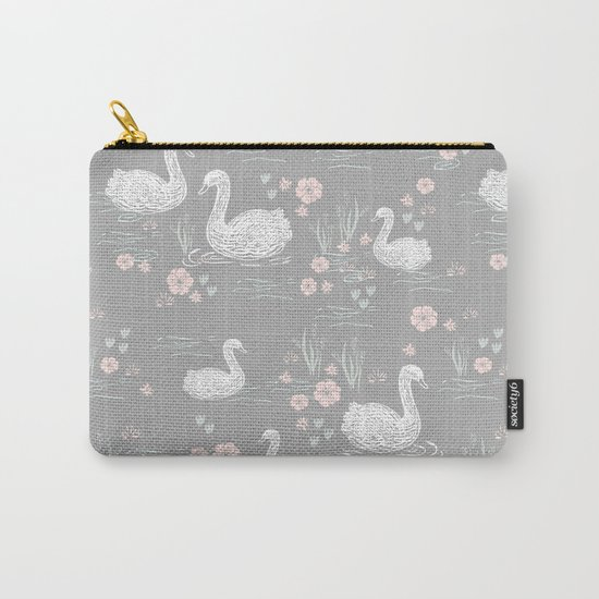Swans painting cute girly trend cell phone case with swans pattern florals hand painted Carry-All Pouch
