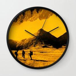 Hello threes of yellow isolation Wall Clock