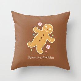 Peace, Joy, Cookies Throw Pillow