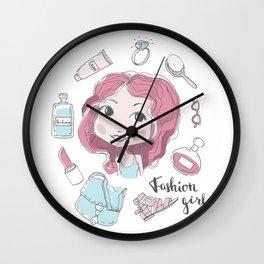 Cute stylish girl portrait Wall Clock