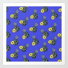 Electric Blue Pineapples Art Print