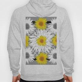Decorative B&W Yellow-White Sunflowers Hoody