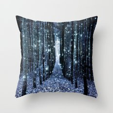 Magical Forest Teal Indigo Elegance Throw Pillow