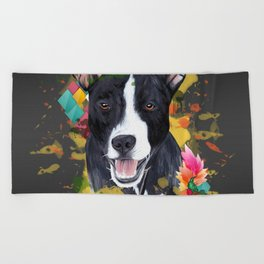 Black pup Beach Towel