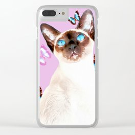 Siamese Butterfly Pink Clear iPhone Case