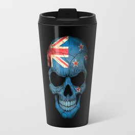 Dark Skull with Flag of New Zealand Travel Mug