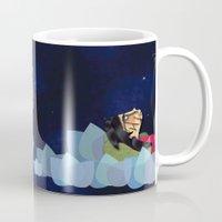 swimming Mugs featuring swimming by HanadaCreations