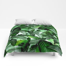 Banana palm leaf tropical jungle green Comforters