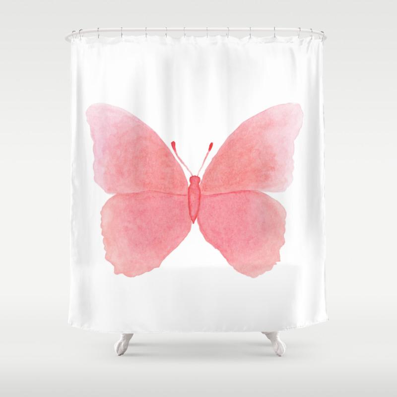 Watermelon Pink Butterfly Shower Curtain By Deeainlondon Society6
