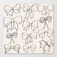 bows Canvas Prints featuring bows by courtneeeee
