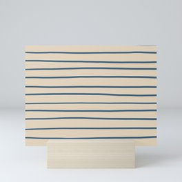 Blue Hand Drawn Horizontal Lines on Beige Pairs To 2020 Color of the Year Chinese Porcelain Mini Art Print